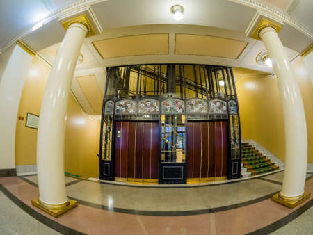 MOSCOW, RUSSIA - APRIL 27, 2017: Vintage elevator in Metropol hotel in Moscow, Russia on April 27, 2017. Hotel was built in 1899–1907 in Art Nouveau style. Editöryel