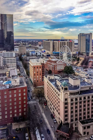 ATLANTA, GA, USA, MARCH 5, 2014 - Aerial view to CNN Center, Philips Arena and Omni Hotel on March 5, 2014 in Atlanta, GA, USA. Editorial
