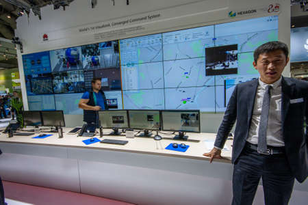 converged: HANNOVER, GERMANY - MARCH 14, 2016: HEXAGON converged command system stand in booth of Huawei company at CeBIT information technology trade show in Hannover, Germany on March 14, 2016. Editorial