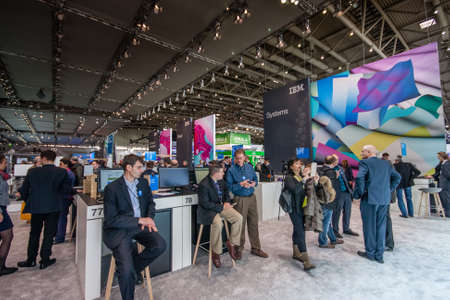 manufacturer: HANNOVER, GERMANY - MARCH 15, 2016: Booth of IBM company at CeBIT information technology trade show in Hannover, Germany on March 15, 2016.