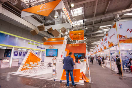 EXHIBIDOR: HANNOVER, GERMANY - MARCH 14, 2016: Booth of Alibaba Group at CeBIT information technology trade show in Hannover, Germany on March 14, 2016. Editorial