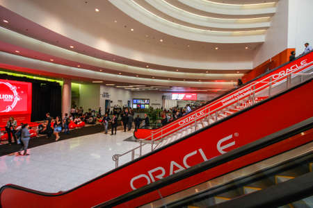SAN FRANCISCO, CA, USA -  OCT 1, 2012 - Main entrance to  Oracle OpenWorld conference in Moscone convention center on Oct 1, 2012 in San Francisco, CA. More than 50 thousands attendees visited this forum