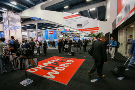 SAN FRANCISCO, CA - OCT 4, 2011: Exhibition hall at Oracle OpenWorld conference in Moscone center on Oct 4, 2011 in San Francisco, CA