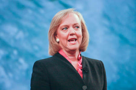 LAS VEGAS, NV – JUNE 5, 2012: HP president and chief executive officer Meg Whitman delivers an address to HP Discover 2012 conference on June 5, 2012 in Las Vegas, NV