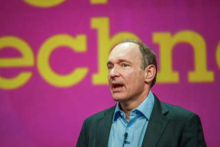 ORLANDO, FLORIDA - JANUARY 18, 2012: Inventor and founder of World Wide Web Sir Tim Berners-Lee delivers an address to IBM Lotusphere 2012 conference on January 18, 2012. He  speaks about social Web