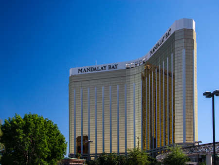 LAS VEGAS, NV -  MAY 6, 2009:  The Mandalay Bay Resort and Casino in Las Vegas on May 6, 2009. Mandalay Bay with gold colored exterior was opened in 1999. Editorial