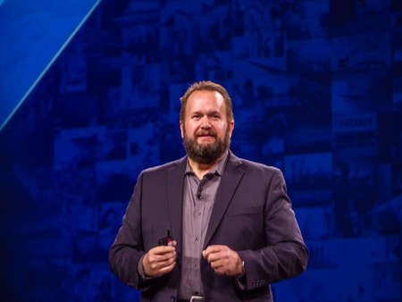 BERLIN, GERMANY - NOV 14, 2017: NetApp Chief Product Officer Dan Berg  makes speech at NetApp Insight 2017 conference in Berlin, Germany on Nov 14, 2017.