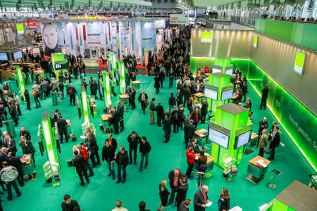 HANNOVER, GERMANY - MARCH 2, 2010: Hall 2 at CeBIT information technology trade show in Hannover, Germany on March 2, 2010. Editoriali
