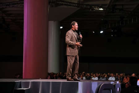SAN FRANCISCO, CA, USA - NOV 14, 2007: CEO of Oracle Larry Ellison makes his speech at Oracle OpenWorld conference in Moscone center on Nov 14, 2007.