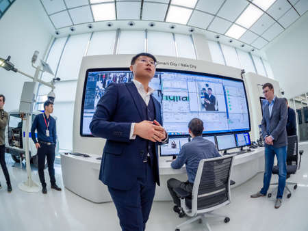 MOSCOW, RUSSIA - APRIL 3, 2018: Huawei Russia manager presents demo stand Smart Safe City at event opening OpenLab department on April 3, 2018 in Moscow, Russia. Editorial
