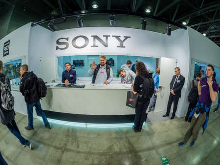 MOSCOW, RUSSIA - APRIL 13, 2018: Booth of Sony company support service at PhotoForum 2018 trade show and exhibition in Moscow, Russia on April 13, 2018.