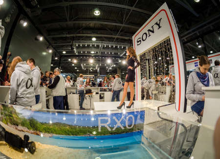 MOSCOW, RUSSIA - APRIL 13, 2018: Booth of Sony company at PhotoForum 2018 trade show and exhibition in Moscow, Russia on April 13, 2018.