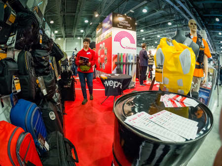 MOSCOW, RUSSIA - APRIL 13, 2018: Booth of Lastolite, Lowepro and Joby companies at PhotoForum 2018 trade show and exhibition in Moscow, Russia on April 13, 2018.