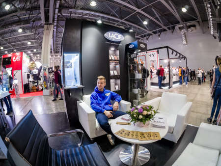 MOSCOW, RUSSIA - APRIL 13, 2018: Booth of LaCie company at PhotoForum 2018 trade show and exhibition in Moscow, Russia on April 13, 2018. Editorial