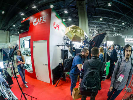 MOSCOW, RUSSIA - APRIL 13, 2018: Booth of Falcon Eye company at PhotoForum 2018 trade show and exhibition in Moscow, Russia on April 13, 2018.