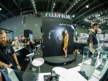 MOSCOW, RUSSIA - APRIL 13, 2018: Booth of Fujifilm company at PhotoForum 2018 trade show and exhibition in Moscow, Russia on April 13, 2018. Editorial