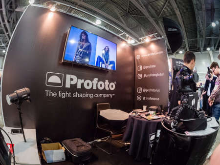 MOSCOW, RUSSIA - APRIL 13, 2018: Booth of Profoto company at PhotoForum 2018 trade show and exhibition in Moscow, Russia on April 13, 2018. Editorial