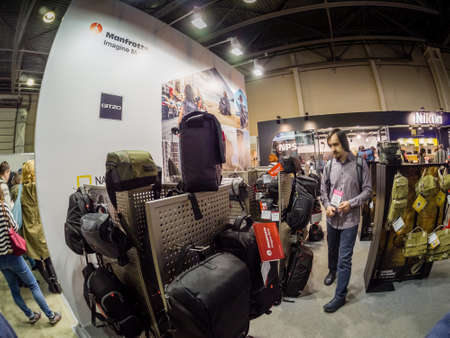 MOSCOW, RUSSIA - APRIL 13, 2018: Booth of Manfrotto and Joby companies at PhotoForum 2018 trade show and exhibition in Moscow, Russia on April 13, 2018.