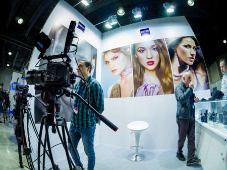 MOSCOW, RUSSIA - APRIL 13, 2018: Booth of Zeiss company at PhotoForum 2018 trade show and exhibition in Moscow, Russia on April 13, 2018.