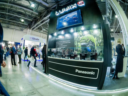 MOSCOW, RUSSIA - APRIL 13, 2018: Booth of Panasonic company at PhotoForum 2018 trade show and exhibition in Moscow, Russia on April 13, 2018.