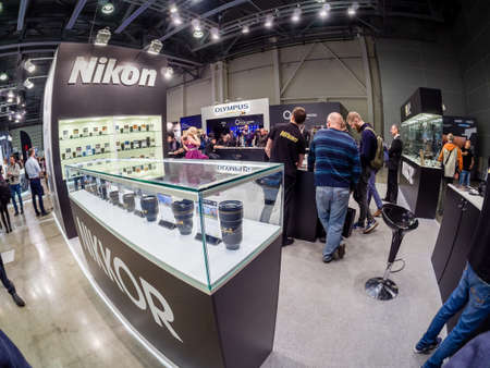 MOSCOW, RUSSIA - APRIL 13, 2018: Booth of Nikon company at PhotoForum 2018 trade show and exhibition in Moscow, Russia on April 13, 2018.