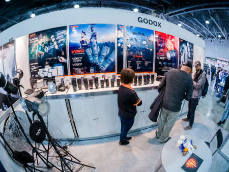 MOSCOW, RUSSIA - APRIL 13, 2018: Booth of Godox company at PhotoForum 2018 trade show and exhibition in Moscow, Russia on April 13, 2018.