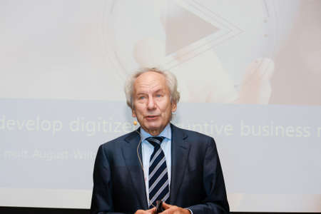 MOSCOW, RUSSIA - APRIL 7, 2016: Head of Scheer GmbH  group professor August-Wilhelm Scheer make speech at BPM Forum conference on April 7, 2016 in Moscow, Russia. Editorial