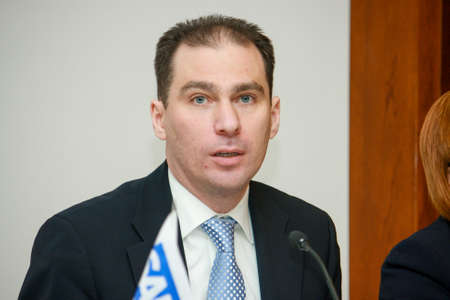 MOSCOW, RUSSIA - FEBRUARY 25, 2010: SAP Russia CEO Vladislav Martynov make speech at SAP financial year results press briefing on February 25, 2010 in Moscow, Russia.