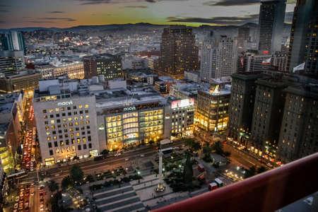 SAN FRANCISCO, CA, USA - NOV 12, 2007: Aerial view to Macys flagship store on Union Square at night on Nov 12, 2007 in San Francisco, CA, USA. Editorial