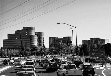REDWOOD CITY, CA, USA - SEPT 24, 2008: Traffic on the road to Oracle Headquarters in Redwood City, CA, USA on Sept 24, 2008. Oracle is a multinational hardware and software technology corporation.