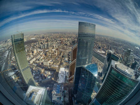 Aerial view of Moscow, Russia downtown with Moscow City international business center skyscrapers