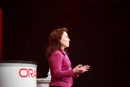 SAN FRANCISCO, USA - OCT 3, 2011: Oracle President and CFO Safra Catz makes speech at Oracle OpenWorld conference in Moscone center on Oct 3, 2011 in San Francisco, USA. Editorial