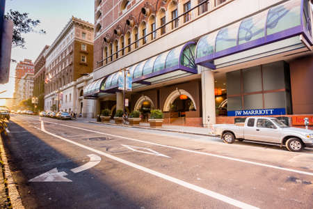 SAN FRANCISCO, USA - OCT 2, 2012: Entrance to JW Marriott hotel from empty street at sunset on Oct 2, 2012 in San Francisco, USA. Editorial