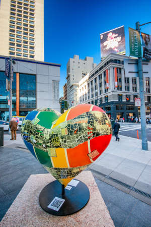 SAN FRANCISCO, USA - SEPT 25, 2013: Art installation Hearts Sculpture that was inspired by Tony Bennett song I Left My Heart in San Francisco at Union Square on Sept 25, 2013 in San Francisco, USA.