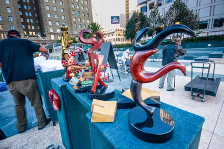 SAN FRANCISCO, USA - SEPT 25, 2013: Artists put up for sale their modern sculptures on Union Square on Sept 25, 2013 in San Francisco, USA.