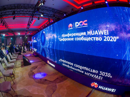 MOSCOW, RUSSIA - SEPT 30, 2020: Participants await start of Huawei Digital Community Conference held with precautions against coronavirus pandemic on Sept 30, 2020 in Moscow, Russia.