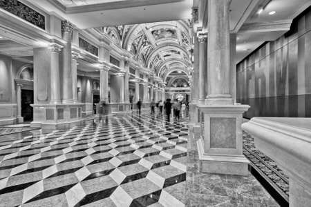 Luxury classic colonnade corridor with marble floor and curved arch ceiling