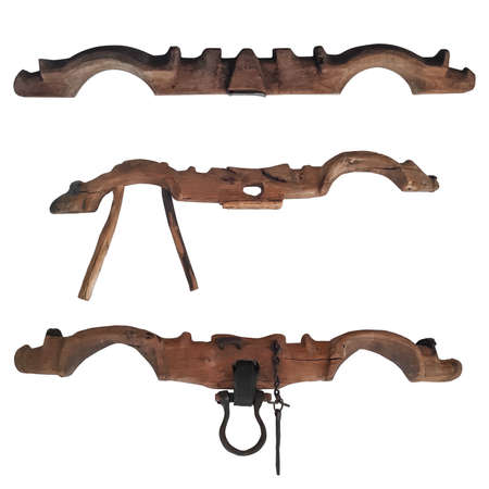 Bow Yoke For Oxen. Wooden beam. Working in pairs. To yoke a pair of oxen Stock Photo