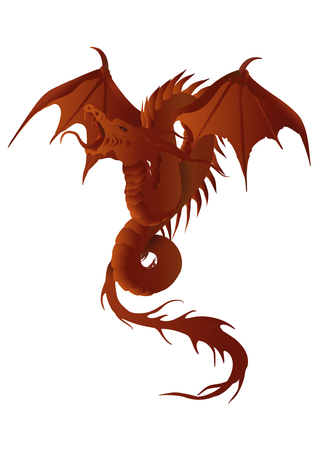 cold blooded: vector illustration of a red dragon with fiery effects and snake body Illustration