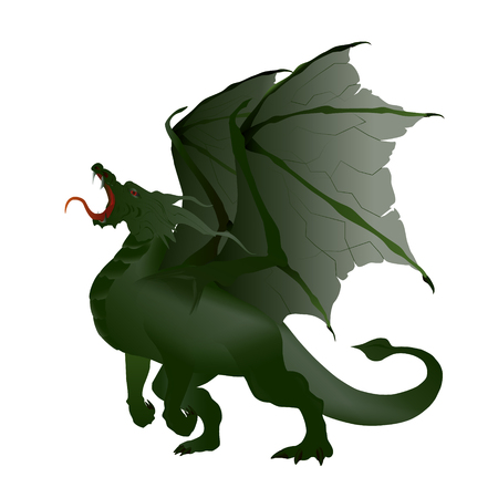 opened mouth: vector illustration marsh green dragon with torn wings