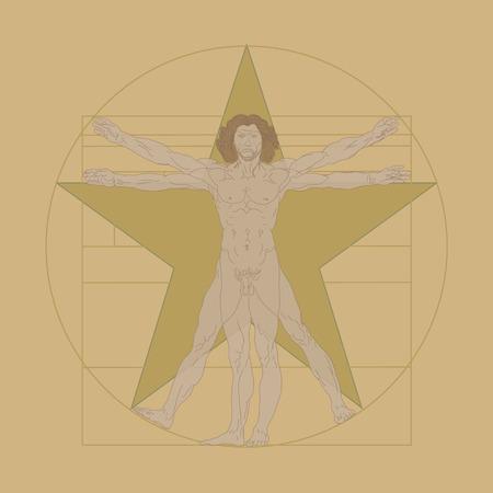 uomo vitruviano: Illustrazione vettoriale dell'Uomo Vitruviano - disegno creato da Leonardo da Vinci Vettoriali