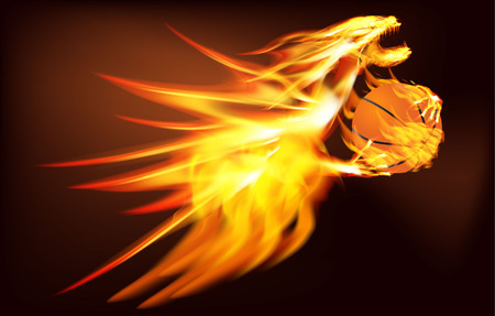 vector illustration of a fiery dragon with a basketball Vector