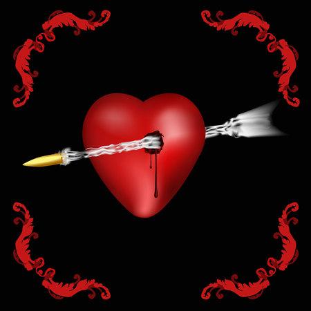 pierced: vector illustration of a pierced heart, instead of arrows bullet