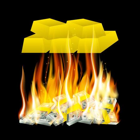 lingot or: Vector illustration de l'argent dans le feu et lingots d'or