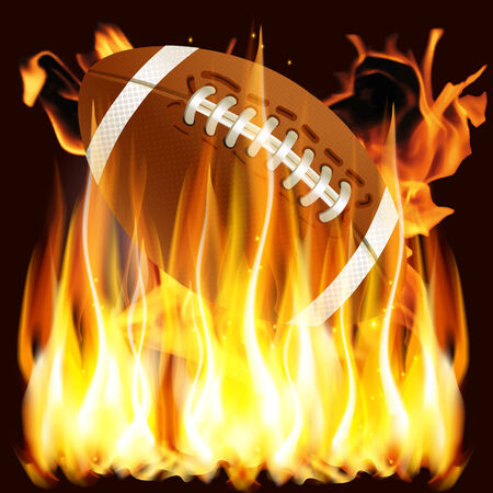 vector illustration ball for American football in the fire