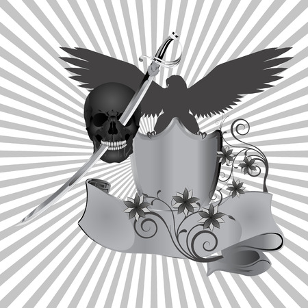 pierced: vector illustration skull pierced by a sword against the background of an eagle with flowers