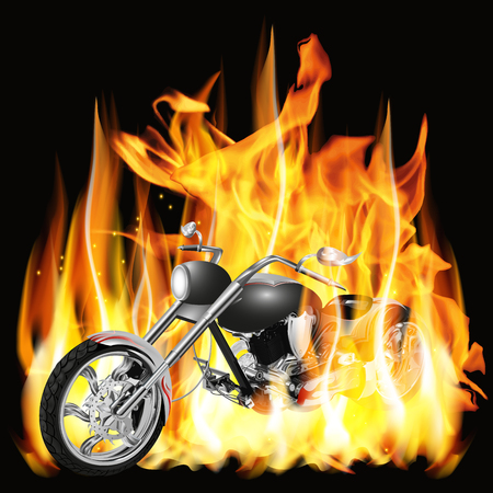 customize: Vector illustration chopper with flames and customize