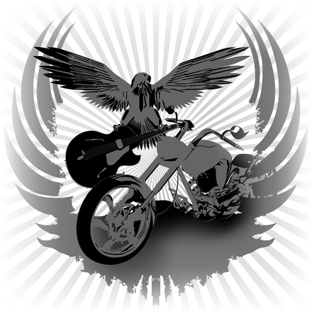 wing: Rock n roll vector illustration background and chopper