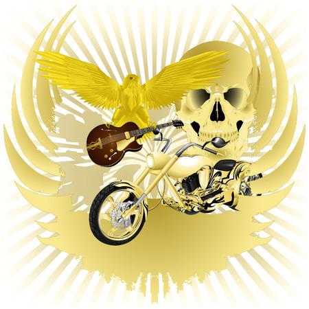 Rock n roll illustration vectorielle arrière-plan et chopper or
