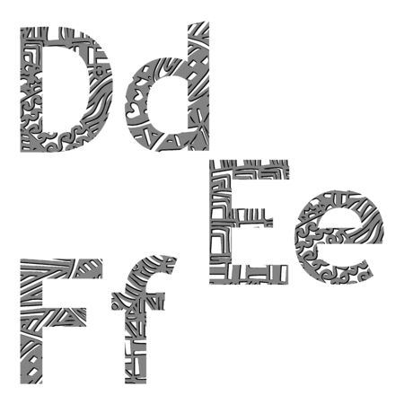 def: vector illustration letters of the alphabet in style zentangle def Illustration